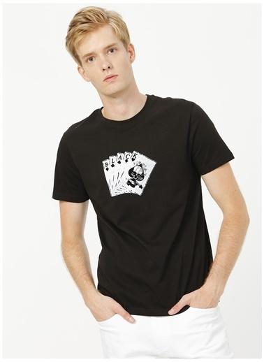 Black On Black Black On Black Bisiklet Yaka Baskılı Siyah T-Shirt Siyah
